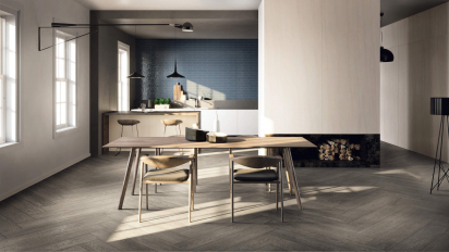 Dining Room wood effect grey ceramic tiles
