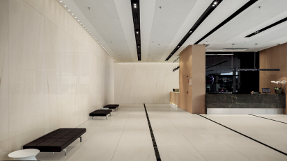 Hall Hotel white marble effect slabs tiles ceramics