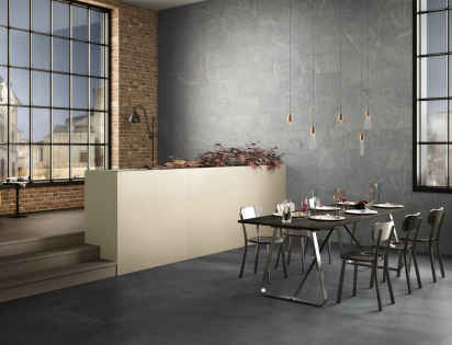 Dining room porcelain tiles grey
