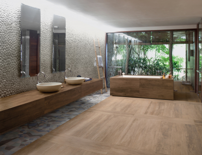 Wood look tiles ceramic bathroom low water absorption