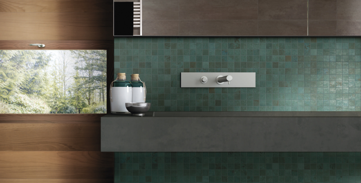 Green metal look tiles