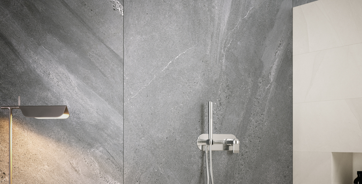 Shower with large size porcelain tile ceramic