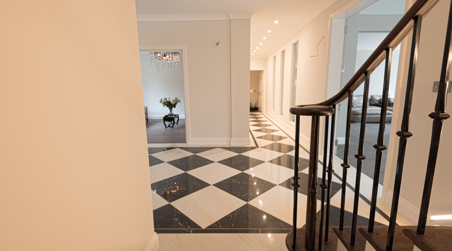 Black and white marble look floors