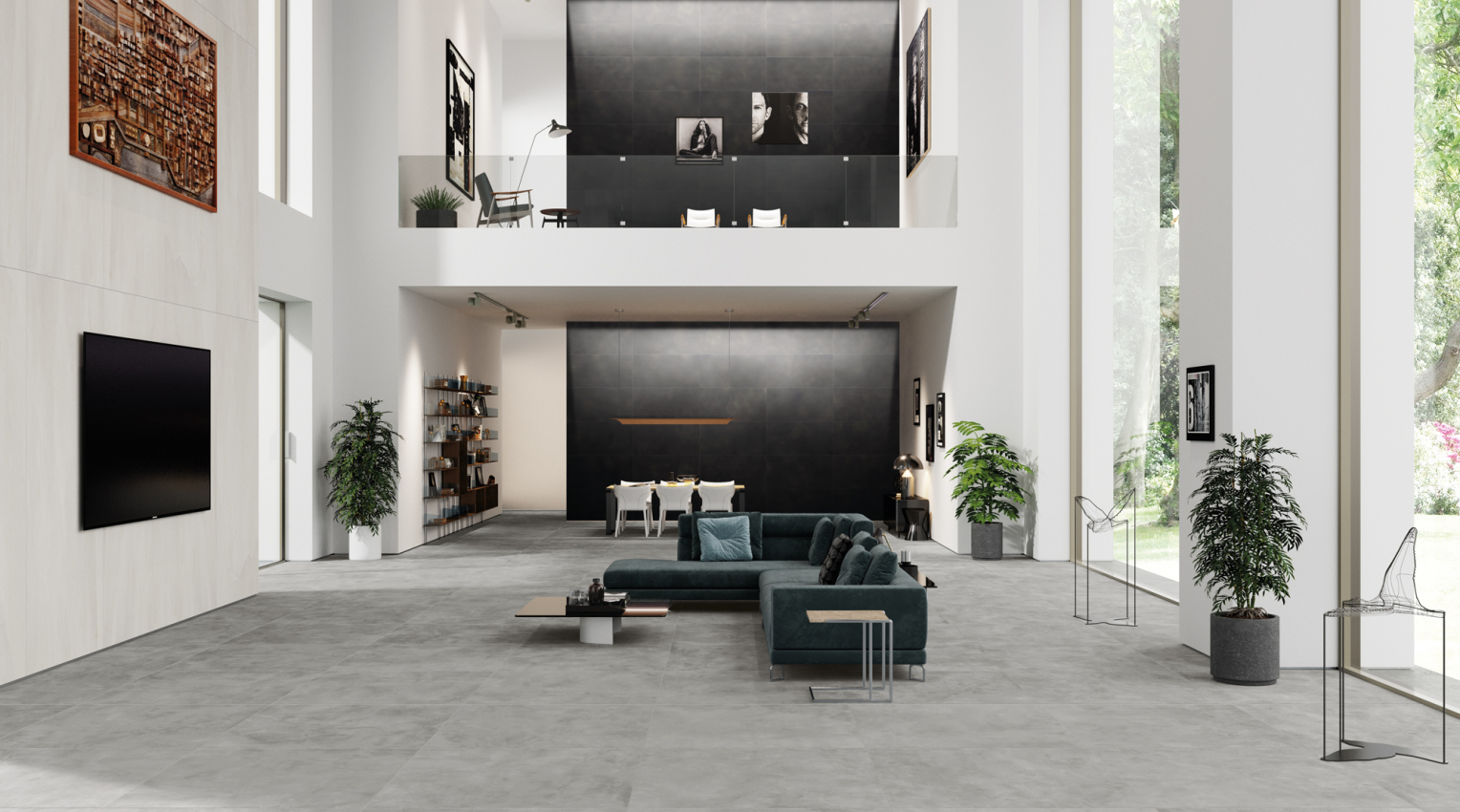 Black gray and white floors and wools home design