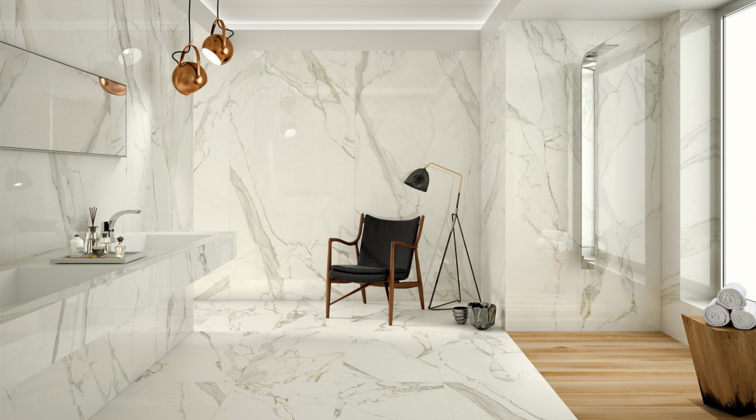 Calacatta bathroom marble effect total look