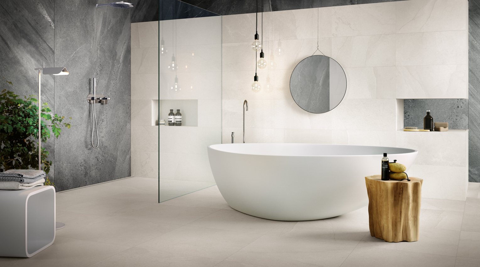 Contemporary Bathroom with stone look porcelain tiles