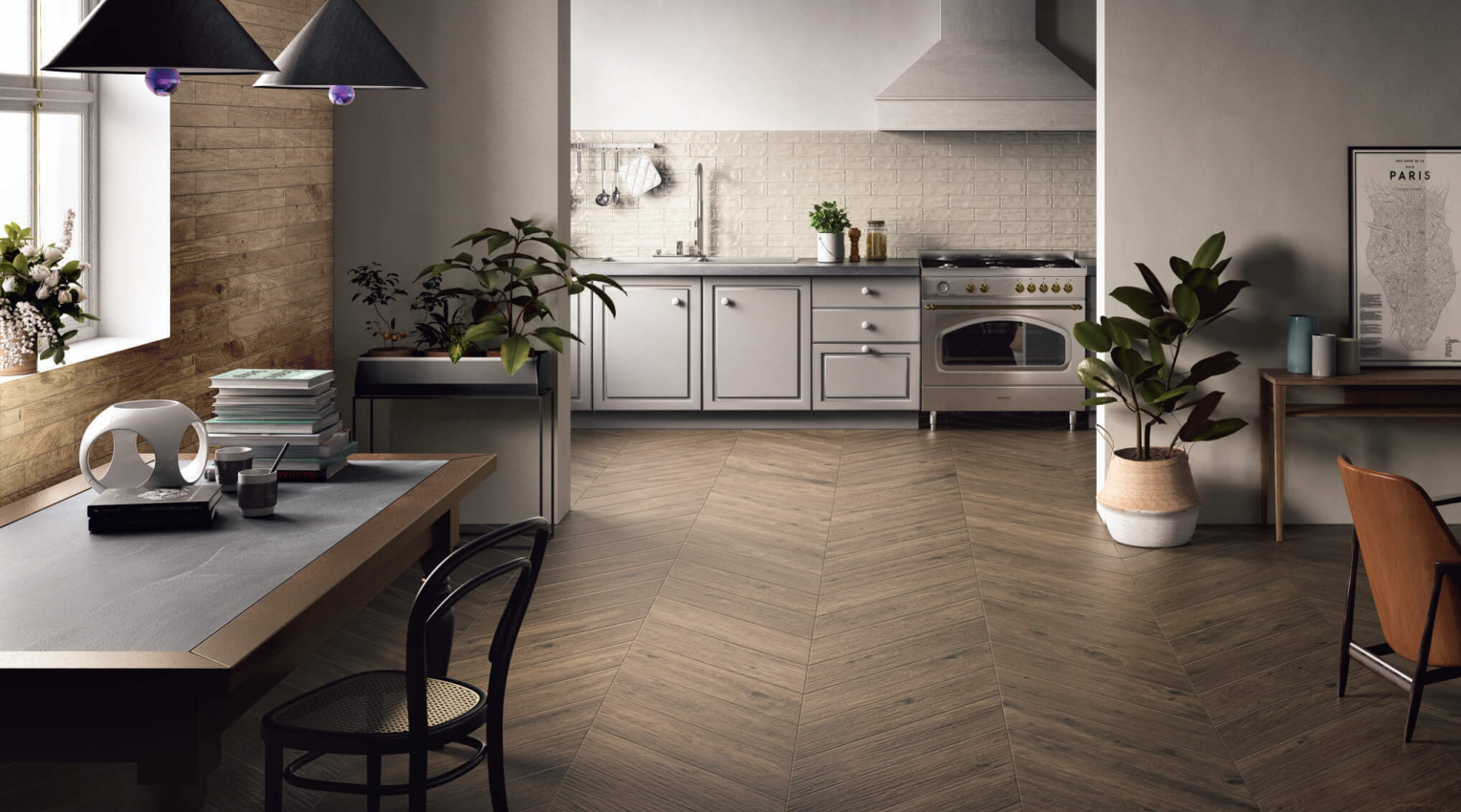 Kitchen Dining room wood effect arthis