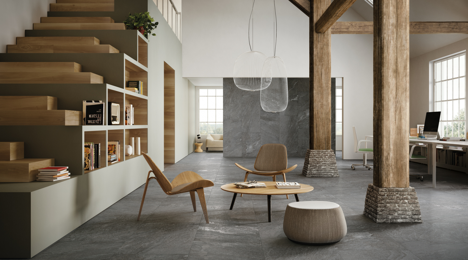 Loft inspiration wood and quartzite look