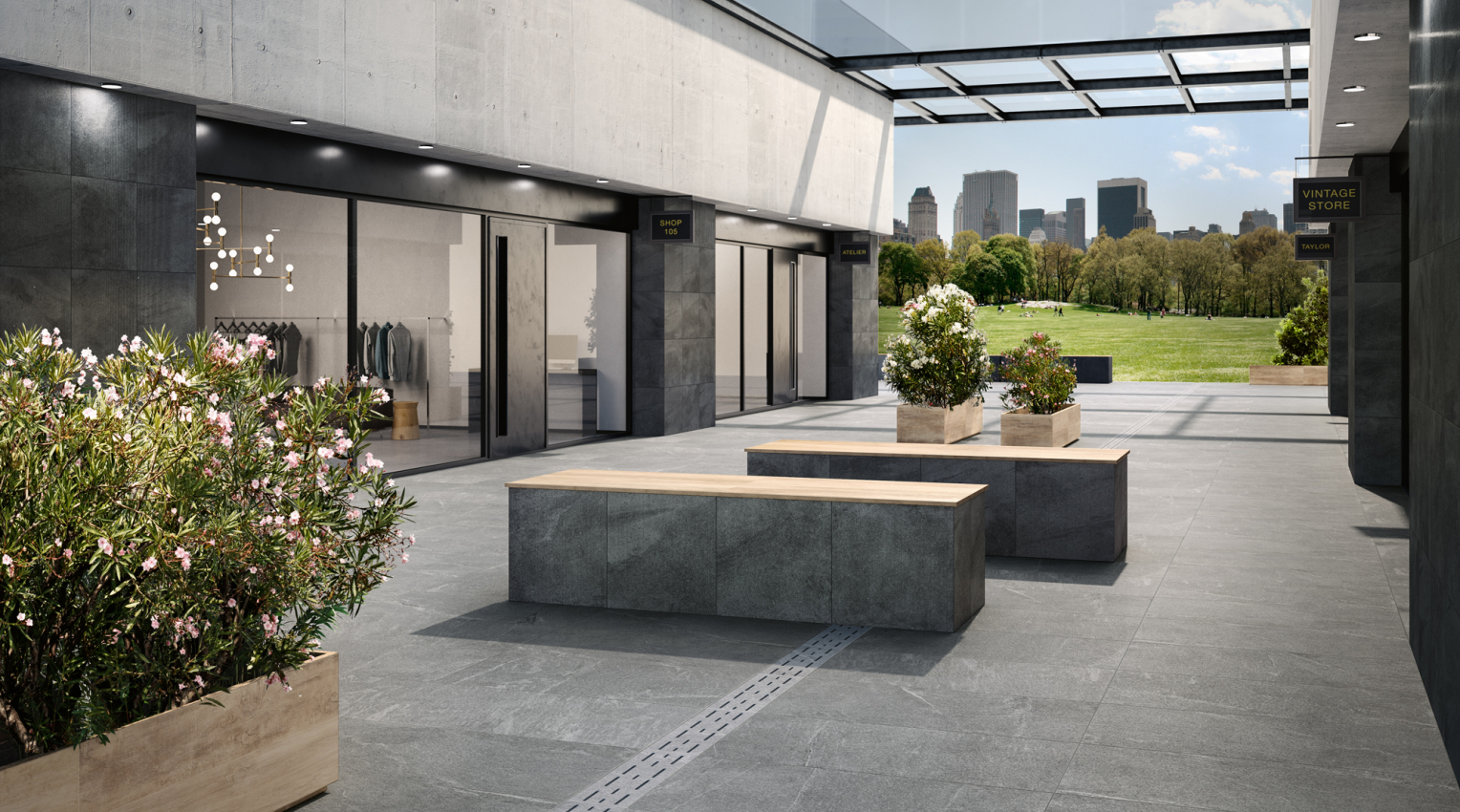 New York commercial space exterior outdoor tiles