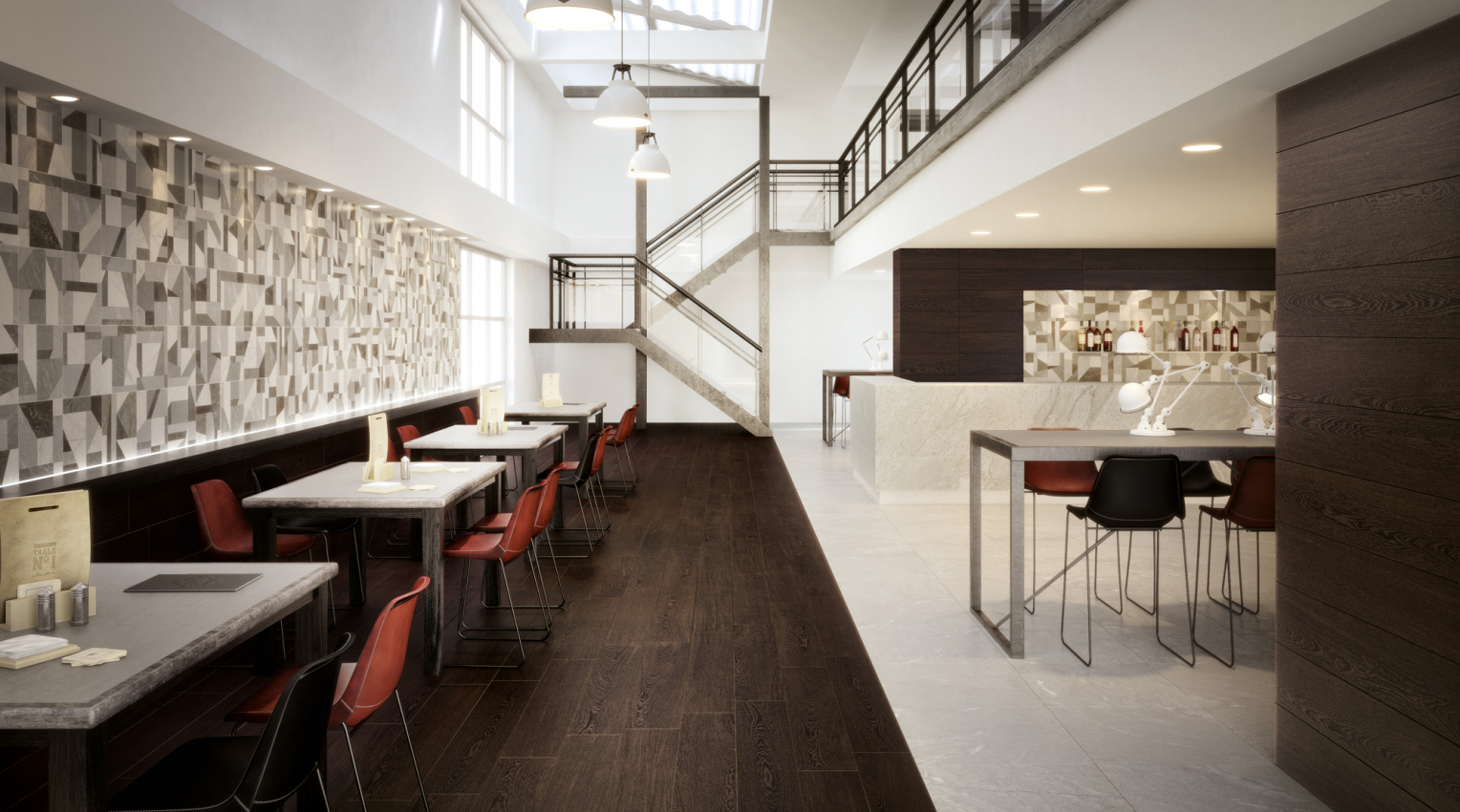 Restaurant Wenge Wood Effect Tiles
