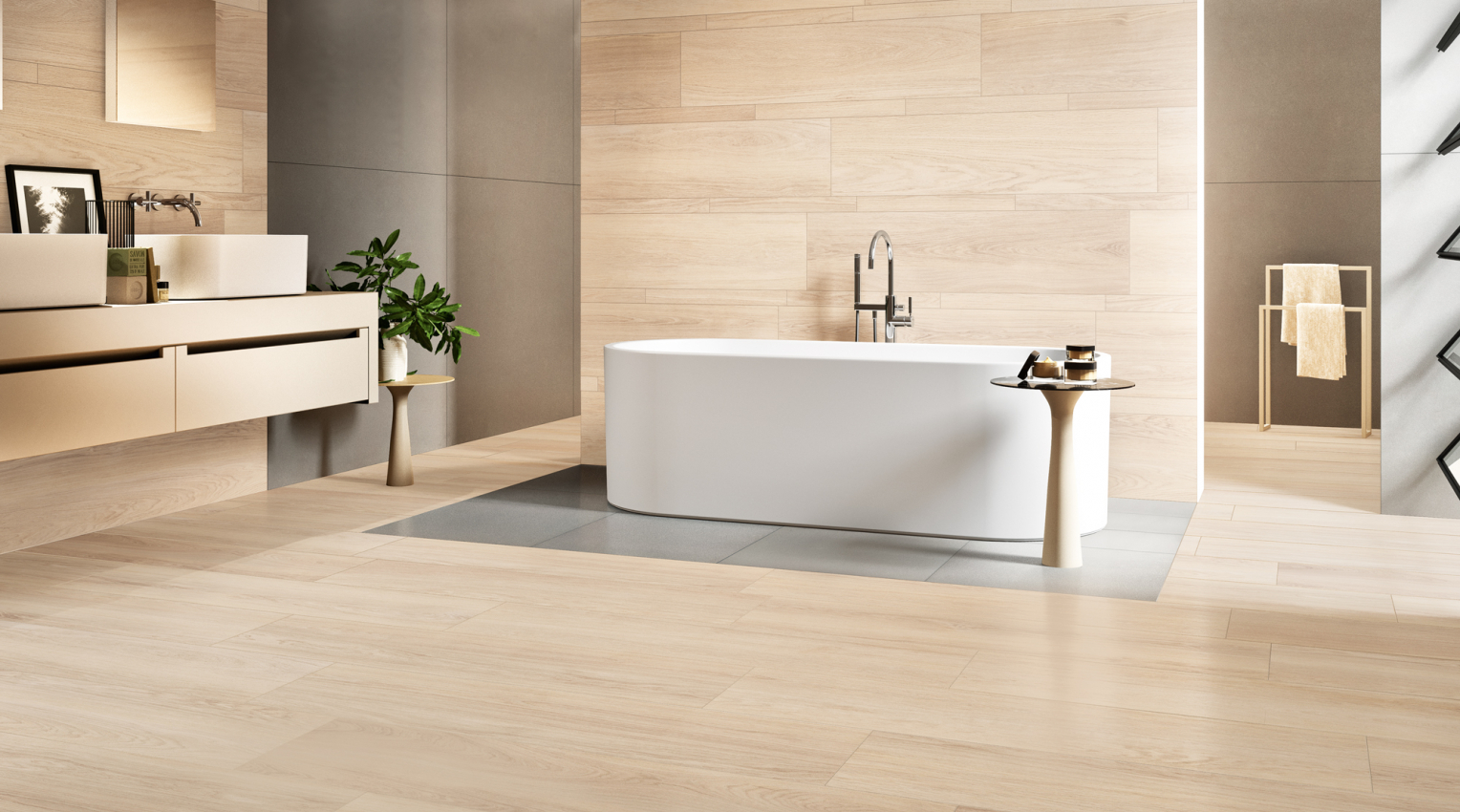 Robur durmast wood effect bathroom tiles