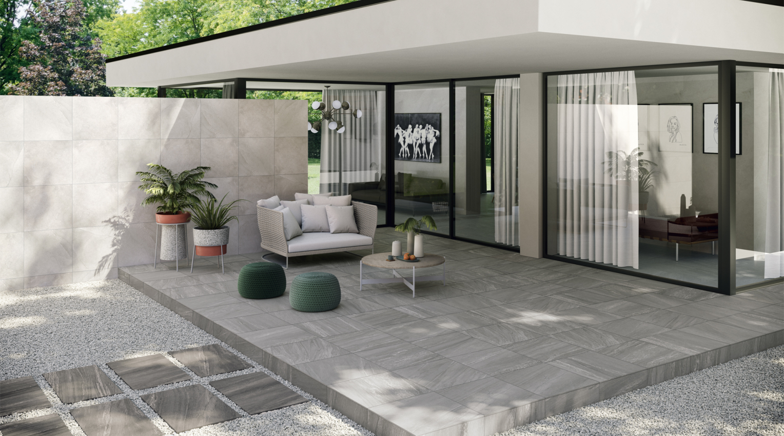 outdoor grey stone effect tiles