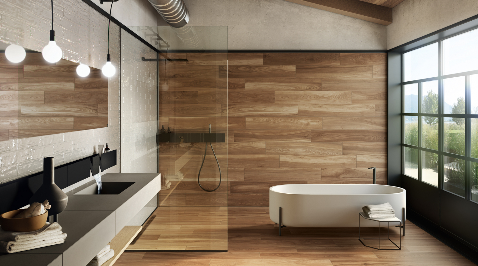 wood look and glazed tiles bathroom contemporary design