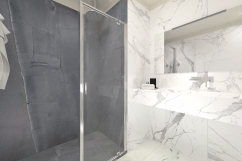 3D Rendering batrhroom shower with porcelain tiles