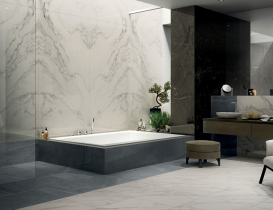 Bathroom Anima Select Caesar bookmatching marble effect porcelaint stoneware