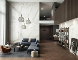 Open space wide space marble wood look
