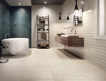 Bathroom wood effect ceramic tiles and glazed brick