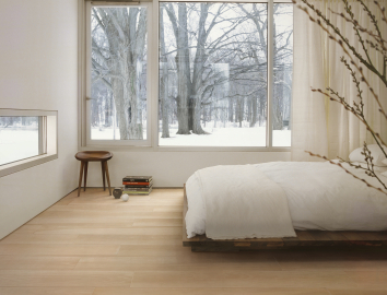 Light wood look tiles bedroom