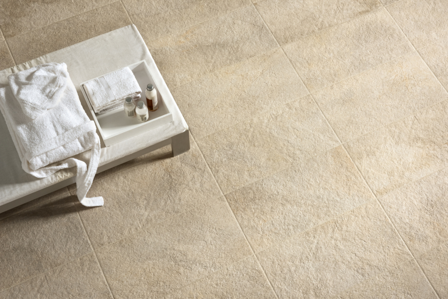 Detail spa stone effect ceramic tiles