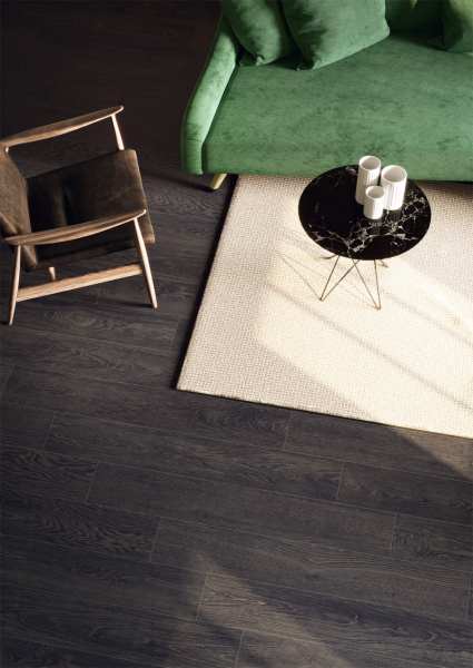 Living room with dark wood effect tiles Caesar Evood
