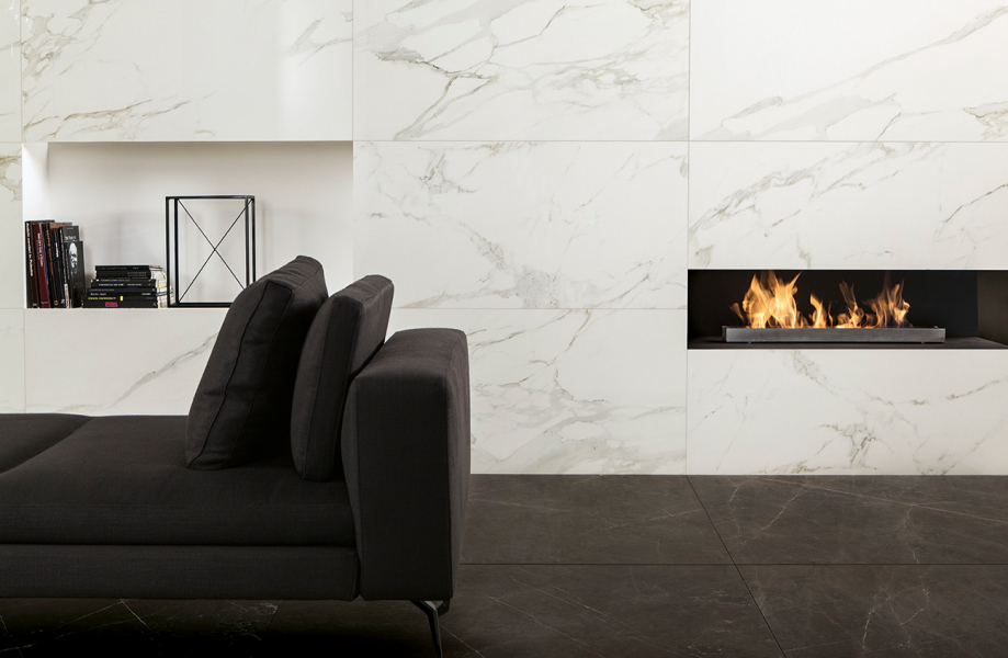 Marble look fireplace
